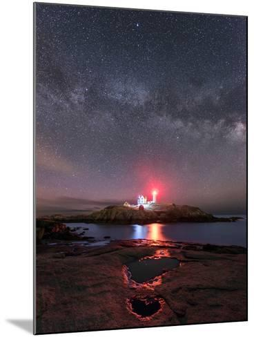 Nubble Night - Vertical-Michael Blanchette Photography-Mounted Photographic Print