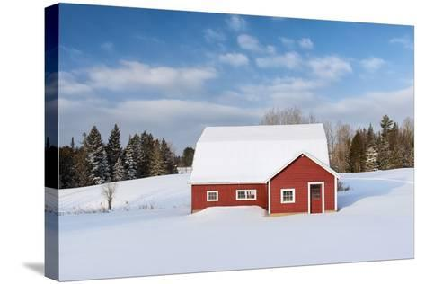 Red Barn In Snow-Michael Blanchette Photography-Stretched Canvas Print