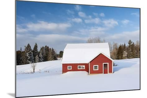 Red Barn In Snow-Michael Blanchette Photography-Mounted Photographic Print