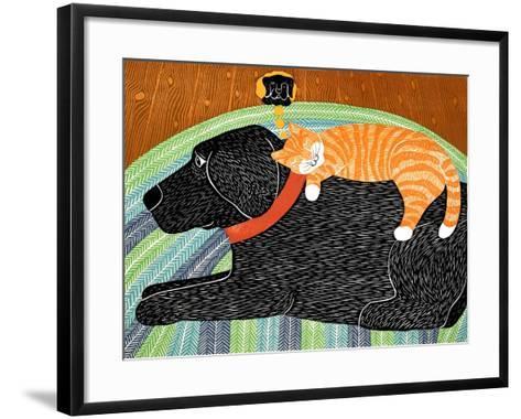 Catnap-Striped Cat Black-Stephen Huneck-Framed Art Print