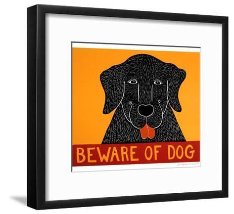 Beware Of Dog Black-Stephen Huneck-Framed Art Print