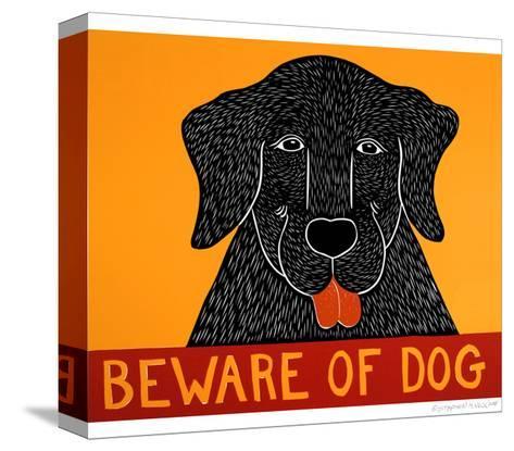 Beware Of Dog Black-Stephen Huneck-Stretched Canvas Print