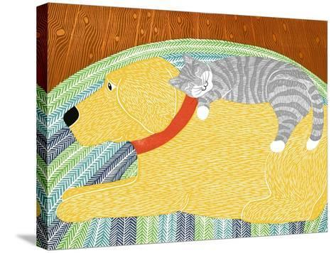 Catnap Yellow Dog Gray Stripped Cat-Stephen Huneck-Stretched Canvas Print