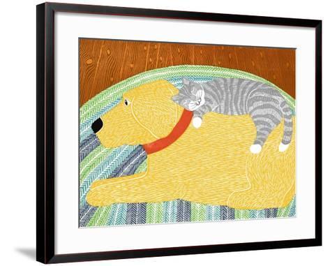 Catnap Yellow Dog Gray Stripped Cat-Stephen Huneck-Framed Art Print