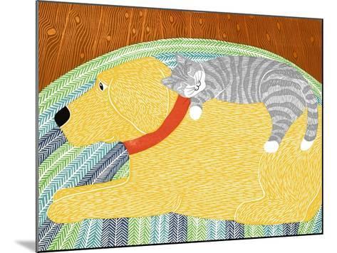 Catnap Yellow Dog Gray Stripped Cat-Stephen Huneck-Mounted Giclee Print