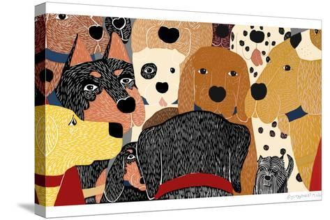 Dog Meeting-Stephen Huneck-Stretched Canvas Print