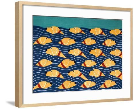 Beach Cover Sheet Yellow Yellow-Stephen Huneck-Framed Art Print