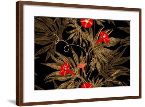 Exotic Climbing Plant Ivy. Vector Seamless Floral Pattern. Golden Branch, Leaves, Red Flowers on Bl-mamita-Framed Art Print