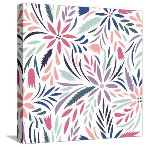 Seamless Floral Pattern. Vector Floral Background- tets-Stretched Canvas Print