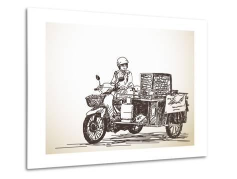Asian Street Food on Motorbike, Hand Drawn Vector Sketch-Olga Tropinina-Metal Print