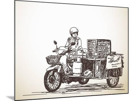 Asian Street Food on Motorbike, Hand Drawn Vector Sketch-Olga Tropinina-Mounted Art Print