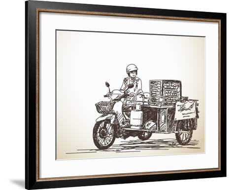 Asian Street Food on Motorbike, Hand Drawn Vector Sketch-Olga Tropinina-Framed Art Print
