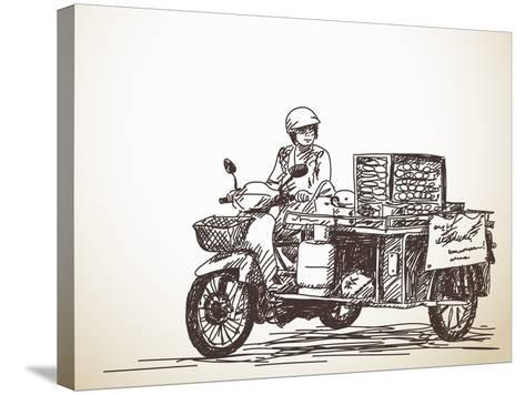 Asian Street Food on Motorbike, Hand Drawn Vector Sketch-Olga Tropinina-Stretched Canvas Print