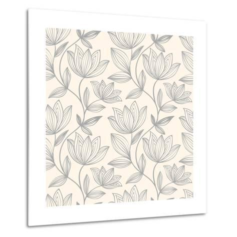 Floral Seamless Pattern Can Be Used for Wallpaper, Website Background, Textile Printing. Hand Drawn- Mespilia-Metal Print