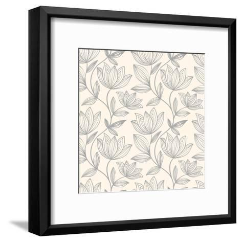 Floral Seamless Pattern Can Be Used for Wallpaper, Website Background, Textile Printing. Hand Drawn- Mespilia-Framed Art Print