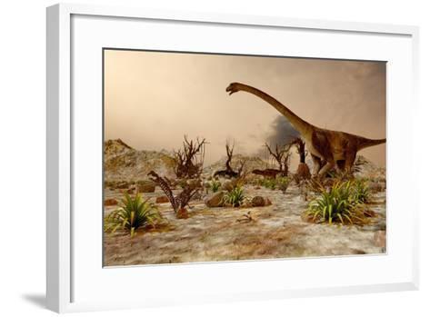 Dinosaur. Prehistoric Jungle, Landscape, Valley with Dinosaurs.-Pavel Chagochkin-Framed Art Print