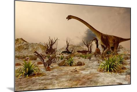 Dinosaur. Prehistoric Jungle, Landscape, Valley with Dinosaurs.-Pavel Chagochkin-Mounted Art Print