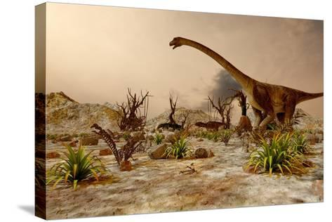 Dinosaur. Prehistoric Jungle, Landscape, Valley with Dinosaurs.-Pavel Chagochkin-Stretched Canvas Print