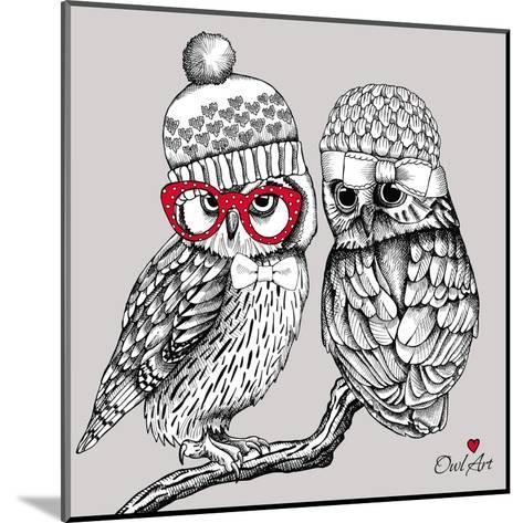 Image of Two Owls in Knitted Hats, Glasses on a Branch. Vector Illustration.- Afishka-Mounted Art Print