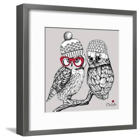 Image of Two Owls in Knitted Hats, Glasses on a Branch. Vector Illustration.- Afishka-Framed Art Print