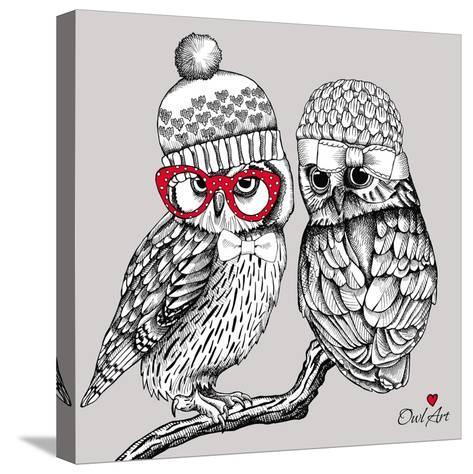 Image of Two Owls in Knitted Hats, Glasses on a Branch. Vector Illustration.- Afishka-Stretched Canvas Print