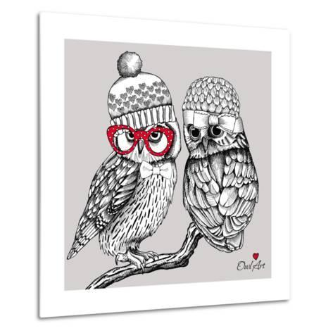 Image of Two Owls in Knitted Hats, Glasses on a Branch. Vector Illustration.- Afishka-Metal Print