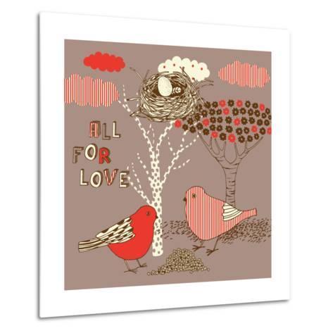 Love Background with Birds-Lavandaart-Metal Print