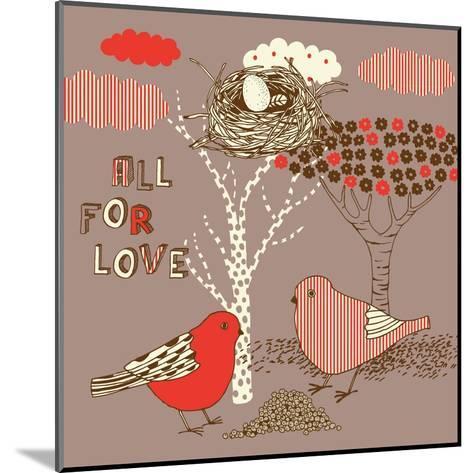 Love Background with Birds-Lavandaart-Mounted Art Print