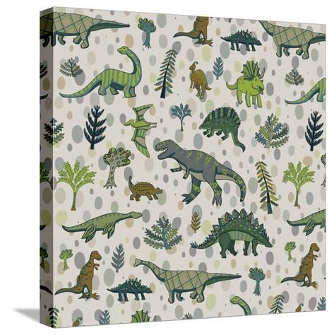 Dinosaur Pattern-GooseFrol-Stretched Canvas Print