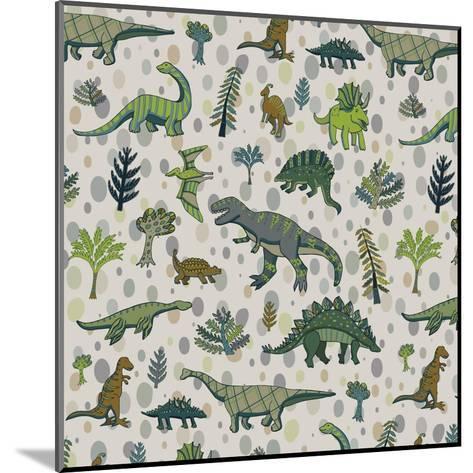 Dinosaur Pattern-GooseFrol-Mounted Art Print
