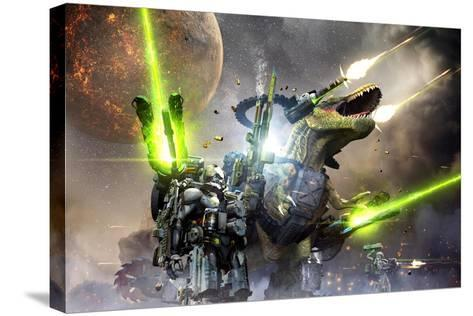Battle Rex and a Team of Commandos Engaging an Unknown Enemy Force on a Planet in Another Galaxy.-Herschel Hoffmeyer-Stretched Canvas Print