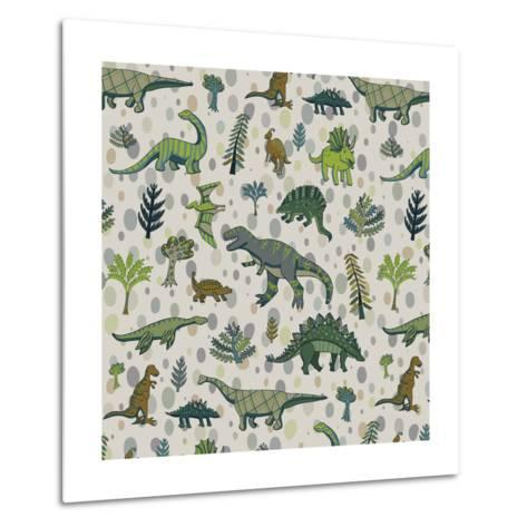 Dinosaur Pattern-GooseFrol-Metal Print