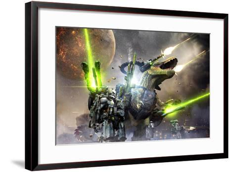 Battle Rex and a Team of Commandos Engaging an Unknown Enemy Force on a Planet in Another Galaxy.-Herschel Hoffmeyer-Framed Art Print