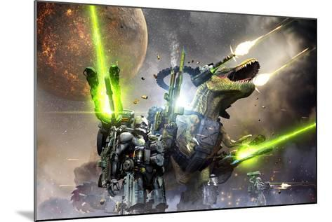 Battle Rex and a Team of Commandos Engaging an Unknown Enemy Force on a Planet in Another Galaxy.-Herschel Hoffmeyer-Mounted Art Print