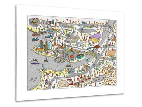 Winter Doodle Town. Map Drawn by Hand. Vector. Isolated- WINS86-Metal Print