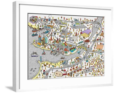 Winter Doodle Town. Map Drawn by Hand. Vector. Isolated- WINS86-Framed Art Print