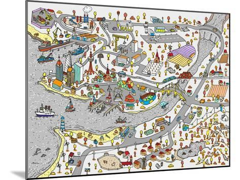 Winter Doodle Town. Map Drawn by Hand. Vector. Isolated- WINS86-Mounted Art Print