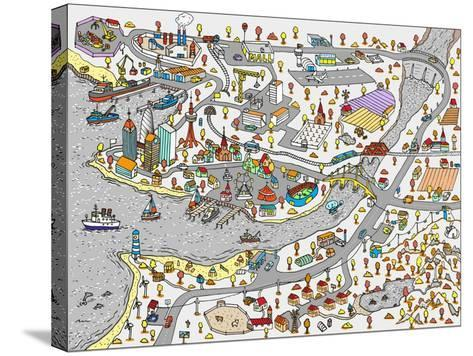 Winter Doodle Town. Map Drawn by Hand. Vector. Isolated- WINS86-Stretched Canvas Print