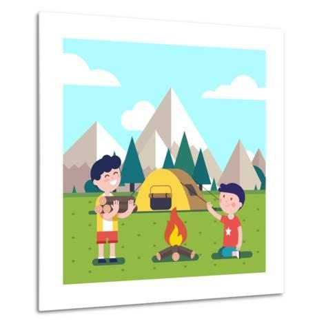Hiking Kids at the Campfire near their Camping Tent at the Mountain Foots. Boy Brings Some Firewood-Iconic Bestiary-Metal Print