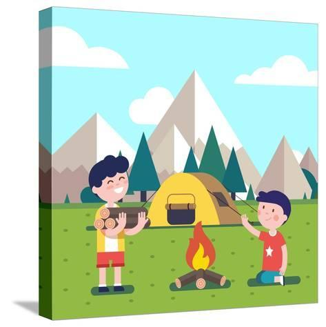 Hiking Kids at the Campfire near their Camping Tent at the Mountain Foots. Boy Brings Some Firewood-Iconic Bestiary-Stretched Canvas Print
