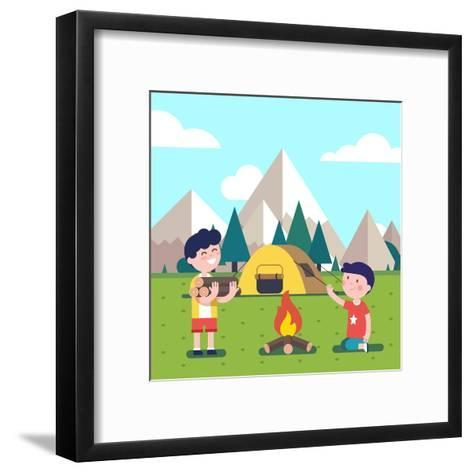 Hiking Kids at the Campfire near their Camping Tent at the Mountain Foots. Boy Brings Some Firewood-Iconic Bestiary-Framed Art Print