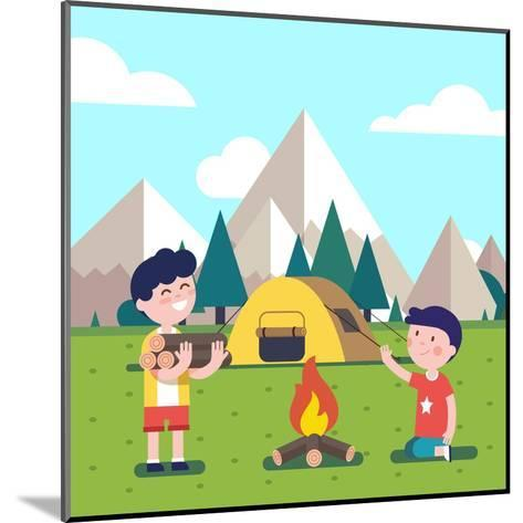 Hiking Kids at the Campfire near their Camping Tent at the Mountain Foots. Boy Brings Some Firewood-Iconic Bestiary-Mounted Art Print
