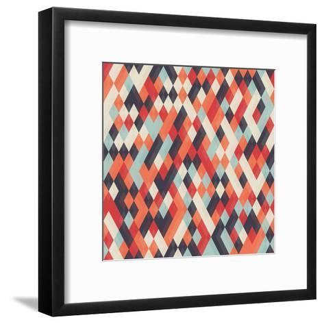 Abstract Geometric Background for Business, Web Design, Print. Colorful Rhombus Seamless Pattern. R- Churunchik-Framed Art Print