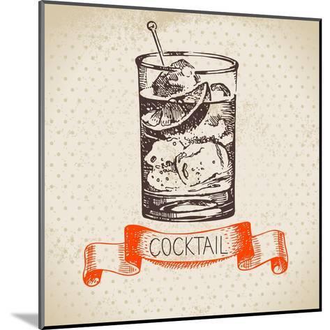 Hand Drawn Sketch Cocktail Vintage Background. Vector Illustration- Pim-Mounted Art Print