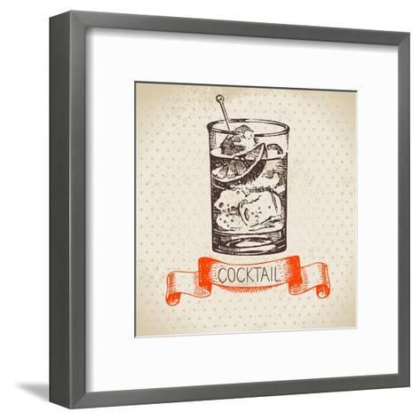 Hand Drawn Sketch Cocktail Vintage Background. Vector Illustration- Pim-Framed Art Print