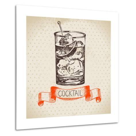 Hand Drawn Sketch Cocktail Vintage Background. Vector Illustration- Pim-Metal Print