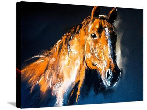 Pastel Portrait of a Brown Horse on a Cardboard. Modern Art-Ivailo Nikolov-Stretched Canvas Print