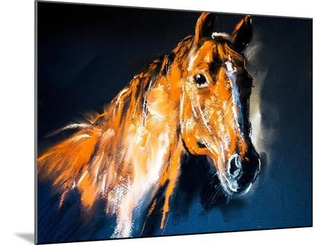 Pastel Portrait of a Brown Horse on a Cardboard. Modern Art-Ivailo Nikolov-Mounted Art Print