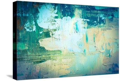 Hand Drawn Oil Painting. Abstract Art Background. Oil Painting on Canvas. Color Texture. Fragment O-Sweet Art-Stretched Canvas Print