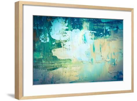 Hand Drawn Oil Painting. Abstract Art Background. Oil Painting on Canvas. Color Texture. Fragment O-Sweet Art-Framed Art Print